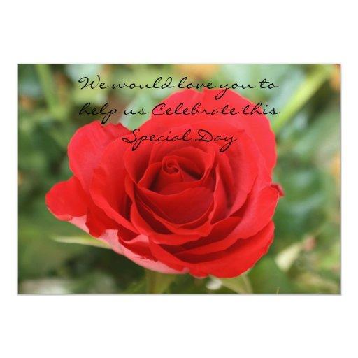 Sola invitación especial del día del rosa rojo