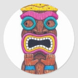 sola máscara del tiki pegatina redonda