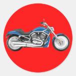 Sola motocicleta azul pegatina redonda