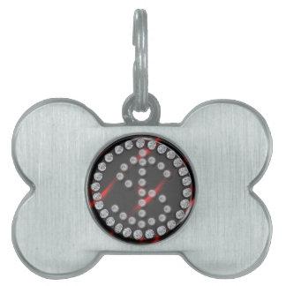 sola muestra de dólar del diamante artificial de l placa de nombre de mascota