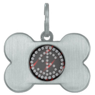 sola muestra de dólar del diamante artificial de l placas de nombre de mascota