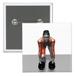 Sola pierna Deadlift 3 de la pesa de gimnasia Pins