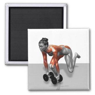 Sola pierna Deadlift de la pesa de gimnasia Imanes