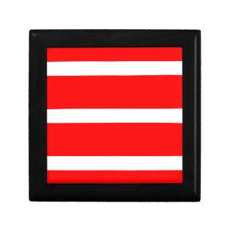 Sola raya - blanco en rojo joyero cuadrado pequeño