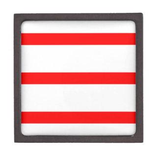 Sola raya - rojo en blanco cajas de recuerdo de calidad