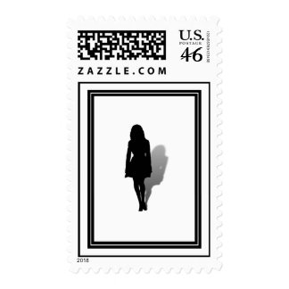 Sola silueta de la mujer sellos