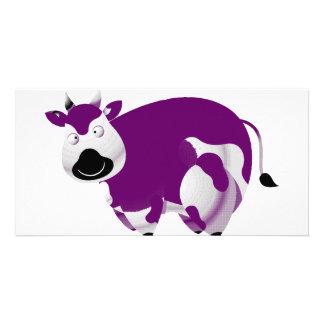 Sola vaca púrpura gorda plantilla para tarjeta de foto