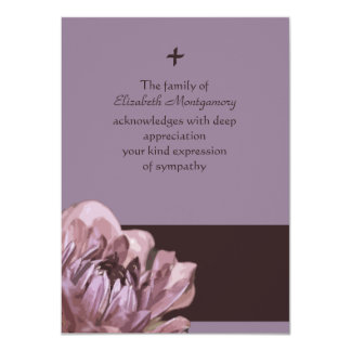 """Solace -  Bereavement Thank You Note Card 4.5"""" X 6.25"""" Invitation Card"""