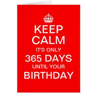 """""""… solamente 365 días hasta su cumpleaños """" tarjeta de felicitación"""