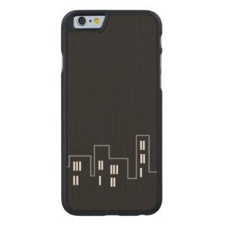 Solamente caso tallado paisaje urbano negro del funda de iPhone 6 carved® slim de arce