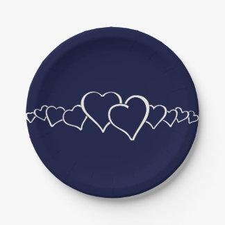 Solamente color sólido de la marina de guerra azul platos de papel