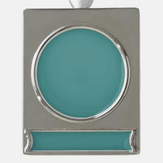 Solamente color sólido del seafoam de la turquesa rótulos de adorno plateado