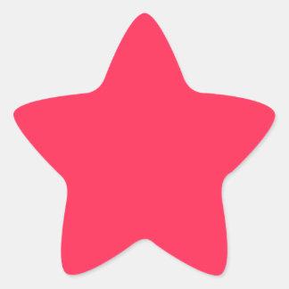 Solamente color sólido fucsia calcomanías forma de estrellas personalizadas