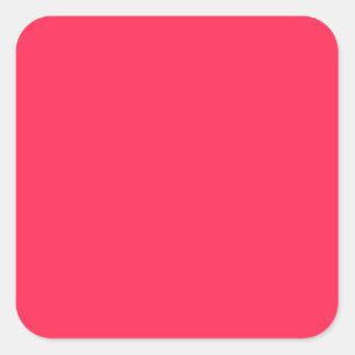 Solamente color sólido fucsia calcomanía cuadradase