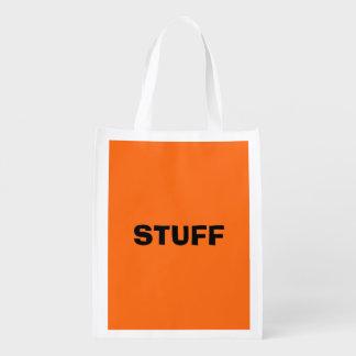 Solamente color sólido simple anaranjado brillante bolsa reutilizable