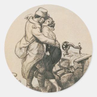 Solamente en el dibujo pasado de la Primera Guerra Pegatina Redonda