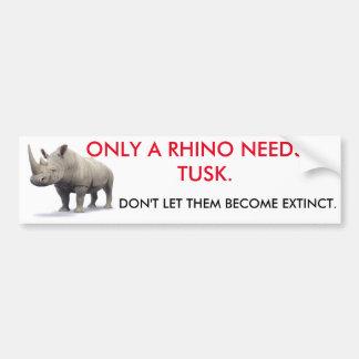 Solamente un rinoceronte necesita un colmillo pegatina para auto