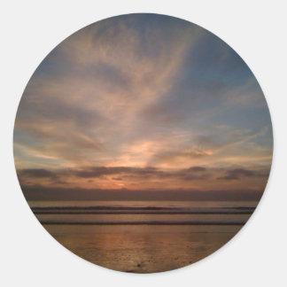 Solana Beach sunset Classic Round Sticker