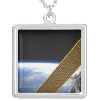 Solar array panels silver plated necklace