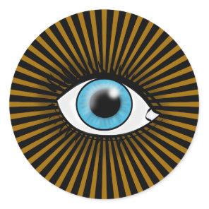 Solar Blue Eye Classic Round Sticker