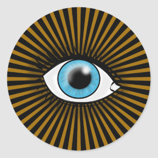 Solar Blue Eye Round Stickers