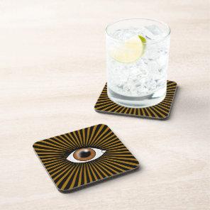 Solar Brown Eye Beverage Coaster