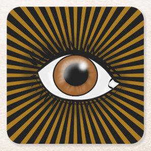Solar Brown Eye Square Paper Coaster