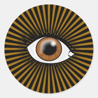 Solar Brown Eye Round Stickers