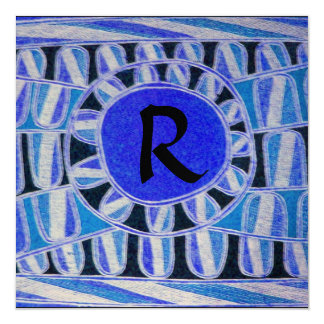 SOLAR CHAMPAGNE MONOGRAM, blue turquase black Card