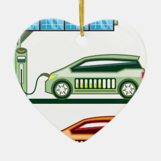 Solar Charging Station Electric Vehicle Ceramic Ornament