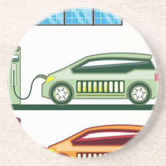 Solar Charging Station Electric Vehicle Drink Coaster