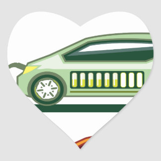 Solar Charging Station Electric Vehicle Heart Sticker