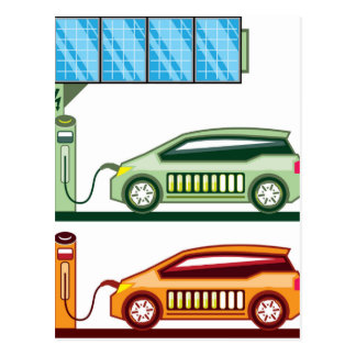 Solar Charging Station Electric Vehicle Postcard