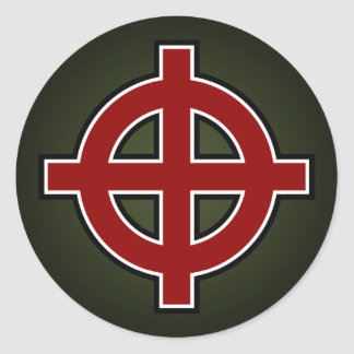 Solar Cross (red, white & black on green) Classic Round Sticker