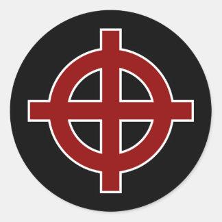 Solar Cross (red, white & black) Classic Round Sticker