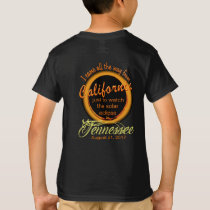 Solar Eclipse California to Tennessee Kid's Shirt