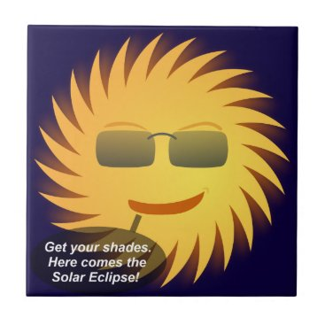 Beach Themed Solar Eclipse Ceramic Tile