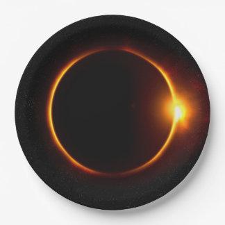 Solar Eclipse Dark Sun & Moon Paper Plate