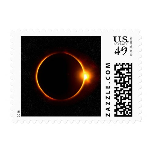 Solar Eclipse Dark Sun & Moon Stamp