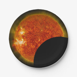 Solar Eclipse in Progress Paper Plate