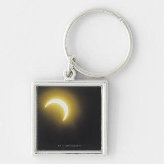 Solar eclipse Silver-Colored square keychain