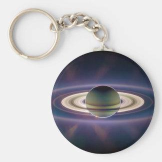 Solar Eclipse Of Saturn from Cassini Spacecraft Basic Round Button Keychain