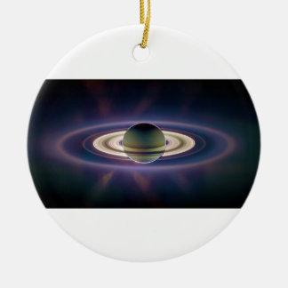 Solar Eclipse Of Saturn from Cassini Spacecraft Ceramic Ornament