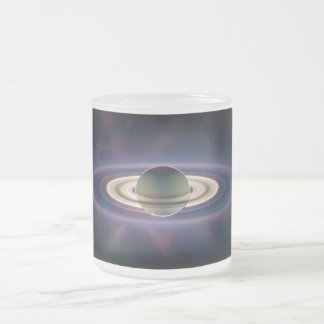 Solar Eclipse Of Saturn from Cassini Spacecraft Frosted Glass Coffee Mug