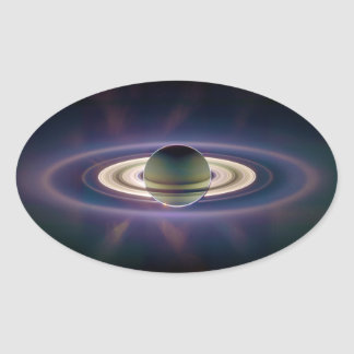 Solar Eclipse Of Saturn from Cassini Spacecraft Oval Sticker