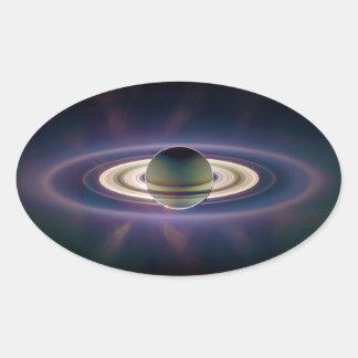 Solar Eclipse Of Saturn from Cassini Spacecraft Oval Sticker