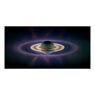 Solar Eclipse Of Saturn from Cassini Spacecraft Poster