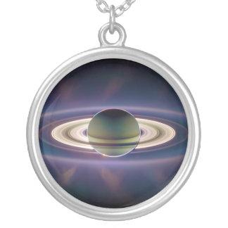 Solar Eclipse Of Saturn from Cassini Spacecraft Round Pendant Necklace