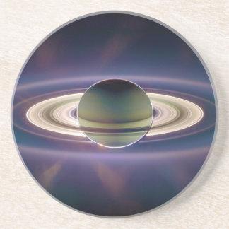 Solar Eclipse Of Saturn from Cassini Spacecraft Sandstone Coaster