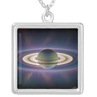 Solar Eclipse Of Saturn from Cassini Spacecraft Square Pendant Necklace